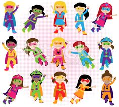 Collection of Diverse Group of Superhero Girls royalty-free stock vector art