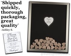 A truly unique wedding guest book alternative that is fun for all guests. Handcrafted by professional custom framers in the United Sates and customized with your selected frame and mat colors, each guest book comes fully assembled and ready for use. This is the highest rated and best quality drop in top hearts box frame that is made to last for years to come.  Simply remove the top-section of the frame and let your guests do the rest as they play plinko with their very own signed drop-in…