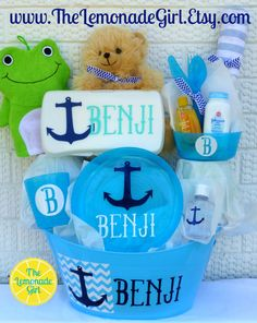 Personalized Baby Basket, Anchor Baby, Anchor Baby Shower, Nautical Baby, Personalized Nautical Baby Gift, New Mom Gift by TheLemonadeGirl, $50.00
