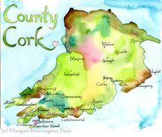 County Cork Ireland - LARGE Fine Art Watercolor Print - Ireland Map - watercolor map of Ireland Ireland Pubs, Ireland Map, Galway Ireland, Ireland Travel, Ireland Vacation, Ireland Castles, County Mayo Ireland, Art Aquarelle, West Cork