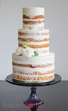 Semi naked wedding cake! Find more wedding inspiration #fromthomas – on Pinterest and http://instagram.com/thomasjewellers/ #thomasjewellers #ilovethomas