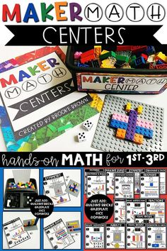 LOW PREP, hands-on math centers that only require LEGO/building bricks, dominoes, and dice! 15 skills for first grade, second grade, and third grade! Elementary math centers