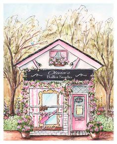 Pink Ballerina Decor, Personalized Ballet Studio, Gift For Harper Rose, Ballerina Art, Dancer, Ballerina Watercolor Print, Unframed Fine Art Print