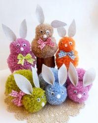 Pompom PUPUT -askartelupaketti | Tuulia design. Iloa & Ideaa askarteluun ja käsitöihin! Textile Fabrics, Easter Crafts, Spring Time, Children, Kids, Christmas Ornaments, Holiday Decor, Design, Knitting And Crocheting