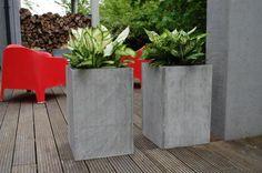"""2er Set Blumenkübel Pflanzkübel aus Beton, Faserbeton """"Block"""" 60cm"""