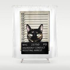 Kitty Mugshot Shower Curtain by Nicklas Gustafsson - $68.00