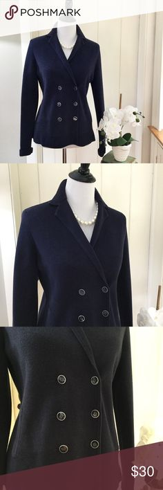 """TALBOTS Navy Double Breasted Cotton Knit Blazer Fabulous navy cotton knit double breasted sweater jacket with two pockets, long sleeves and cute anchor fabric lining the collar. An adorable nautical blazer in a comfortable knit. In excellent very lightly pre-loved condition, with no holes, no stains, no rips, no defects. Chest 19"""", length 24.5"""". Talbots Jackets & Coats"""