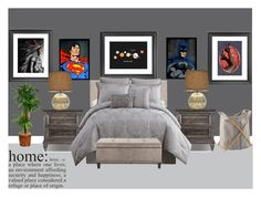 """""""MustHangComicConArt"""" by magsterific ❤ liked on Polyvore featuring interior, interiors, interior design, home, home decor, interior decorating, Victoria Classics and Threshold"""
