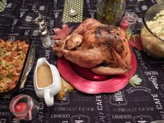 Homemade feast for Thanksgiving: sauge butter roasted chicken with deliciously simple gravy