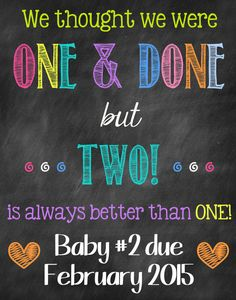 Only Child Chalkboard Pregnancy Reveal by ChalkingItUpBoards