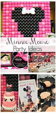 Fun Minnie Mouse birthday party ideas. Love the dessert table backdrop and the Minnie Mouse cake! See more party ideas at CatchMyParty.com.