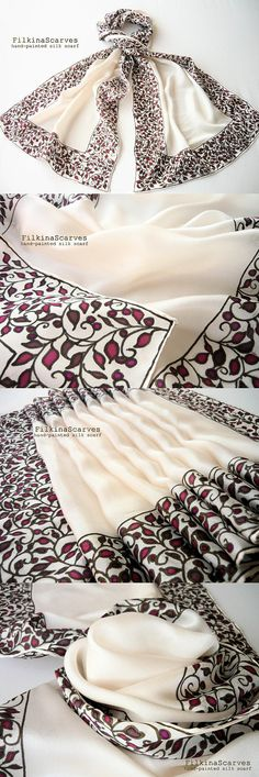 Hand painted silk scarf Bordeaux scarf White scarf petals
