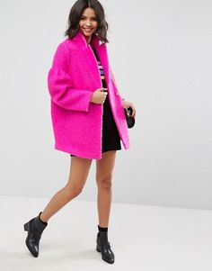 ASOS Textured Coat with Puff Sleeve