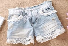 Interesting Craft  Ideas With Lace  dress up a pair of shorts by adding some lace to the legs and the pockets
