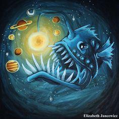 Deep Sea Angler Fish with Galaxy Art Print by ElizabethJJancewicz
