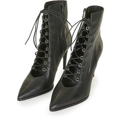 TOPSHOP MISTRESS Ghillie Boots ($130) ❤ liked on Polyvore featuring shoes, boots, lacing boots, pointed toe high heels stilettos, leather stiletto boots, lace up stilettos and real leather boots