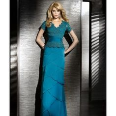 Custom Turquoise Modest Long Lace Bridesmaid Dresses with Sleeves
