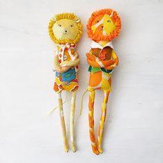 Grumpy Lion and his cousin Grouchy . . . . #dollstudio #handmadedoll #dollmakers #dollmaking #fabricdoll #vintagefabric...