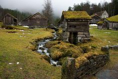 bluepueblo: Grass Roof Village, Sunnfjord, Norway photo via varlys Theme Forest, Fantasy Landscape, Abandoned Places, Architecture, Fresco, Wonders Of The World, Norway, Countryside, Vikings