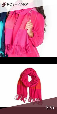 """Cozy Soft Hot Pink Striped Oversized Scarf This comfy wrap scarf with fringe ends and wide stripes is sure to add style and warmth to your everyday look. Details: Stylish and warm fringe end scarf Extremely soft and warm over-sized: 70"""" x 28"""" 100% Polyester Great gift! Accessories Scarves & Wraps"""