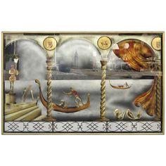 "Eglomise Glass Panel ""Gondola Ride to the Venice Carnival"" 1"