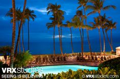 #Westin #Maui Resort and Spa - A magnificent backdrop of the Pacific Ocean and towering palm trees from the outdoor pool at Westin Maui Resort and Spa. View more hotel and resort photography here: http://www.vrxstudios.com