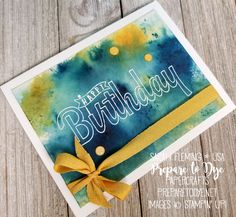 Stampin' Up! Birthday Wishes for You with Brusho background - handmade birthday card - Sarah Fleming - Prepare to Dye Papercrafts