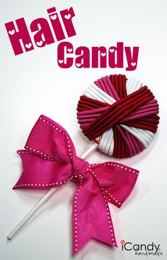 Hair Candy. Hair elastics on real candy lolly. Could do it on cardboard