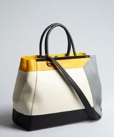 Ashlees Loves: Fendi Bender info @ashleesloves.com #Fendi #ivory #ColorBlock #Leather #2JoursLarge #convertible #satchel #handbag #women's #designer #fashion #style