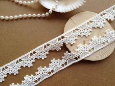 1 Yard Bilateral white Cotton tulle flowers Embroidered Lace Trim Ribbon FL29