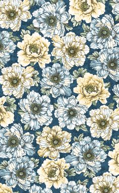 Flowering Peony by Dover Hill Studio for Benartex - Flowering Peony - Blue/Cream