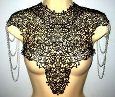 Steampunk lace collar black bib detachable by AmorousCatsAttic, $59.00