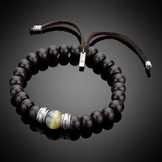 Golden Blue Tiger's Eye, Silver, Wood Beads, & Leather Bracelet