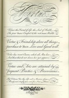 The Universal Penman, página 19 (libro de lettering, caligrafía y tipografía, lleno de ejemplos de Copperplate, Spencerian, Engrosser's, Old English, Italian, Round-hand & Italic / Roman mix)