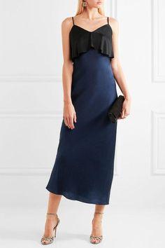Diane von Furstenberg - Two-tone Hammered Silk-satin Midi Dress - Black - x small