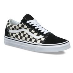 Vans Primary Check Old Skool Negros / Blancos - Tenis Vans Para Hombre Online Shop Vans Classic Old Skool, Old Skool Black, Vans Old Skool, Dr Shoes, Cap Toe Shoes, Me Too Shoes, Black And White Sneakers, White Shoes, Lace Up Shoes