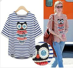 Shop the Style >>> http://www.pariscoming.com/en-fake-pearl-owl-blue-striped-t-shirt-p147769.htm