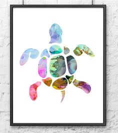 Colorful watercolor tortoise  watercolor art print  by Thenobleowl, $15.00