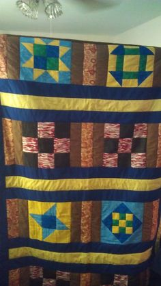 Full size Hand Sewn Quilt with and brown and green checker board back