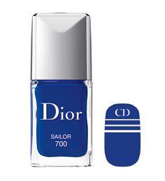 """La Manucure Transat """"Sailor"""" de Dior http://www.vogue.fr/beaute/shopping/diaporama/vernis-ete-2014-tendances/19760/image/1039221#!la-manucure-transat-quot-sailor-quot-de-dior"""