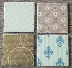 DIY coasters made from tile and scrapbook paper.