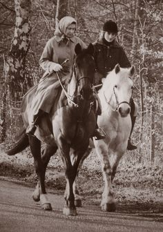 The Queen and Diana. A rare photo since Diana didn't care much for riding.