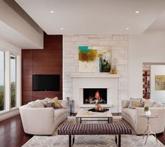 Stunning Living Room Design Ideas with Charming Fireplace and Modern Tv Wall Mount: Stunning Living Room Design Ideas with Charming Fireplac...