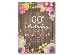 Sorpresa 60.o invitación de cumpleaños para las mujeres.