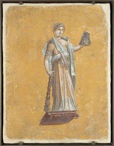 Fragment de peinture murale : Melpomène, muse de la tragédie, Pompéi, Villa de Julia Félix