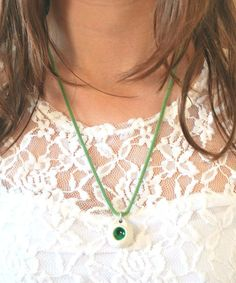 Porcelain Necklace Green Glass Focal #porcelain #jewelry #jewelrydesign