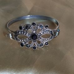 Sweet Cuff Bracelet Dainty silver and a Marcasite look.  Fits a  small to medium wrist.  Looks great casual or dressy.  Makes a nice personal gift. Jewelry Bracelets