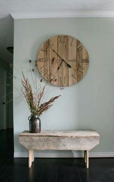 Large wooden clock/ distressed wood/ hallway