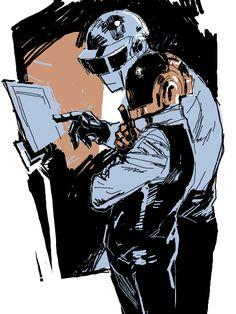 "end-area: "" Tegaki art by さんの Tkki "" Daft Punk, Character Concept, Character Art, Character Design, Twenty One Pilots, Weird Art, Strange Art, Funny Tattoos, Punk Art"