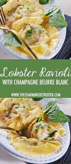 These plump ravioli are filled with tasty lobster and mascarpone and finished in a delectable and rich champagne beurre blanc sauce. #Champagne